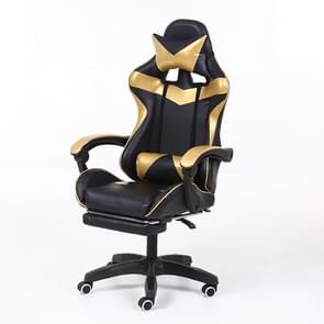 Computer Office Chair Home Gaming Chair Lifted Rotating Lounge Chair with Footrest / Aluminum Alloy Feet (Gold)