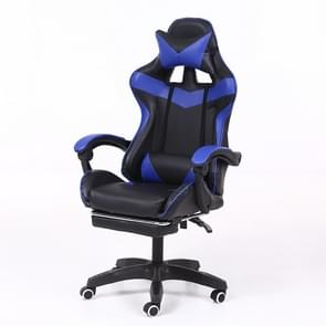 Computer Office Chair Home Gaming Chair Lifted Rotating Lounge Chair with Footrest / Aluminum Alloy Feet (Blue)