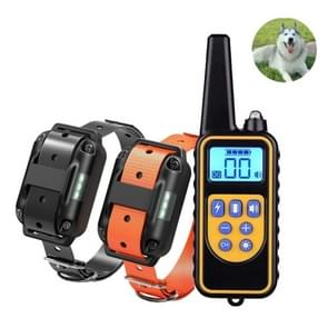 880-2 800 Yards Rechargeable Remote Control Collar Dog Training Device Anti Barking Device(Black+Orange)