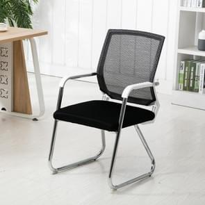 Simple Household Mesh Computer Chair Conference Chair White Frame Fixed Chair (Black)