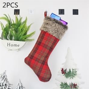 2 PCS CX20201 Christmas Grid Plush Sock Gift Bag Christmas Tree Pendant Decoration