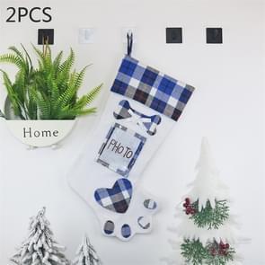 2 PCS CX20203 Creative Dog Paw Christmas Sock Gift Bag Christmas Tree Pendant Decoration(Blue)