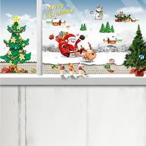 Christmas Tree Sleigh Santa Claus Window Glass Door Removable Christmas Wall Sticker Decoretion