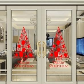Christmas Tree Living Room Window Glass Door Removable Waterproof Christmas Wall Sticker Decoretion (Red)