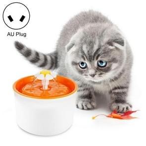1.6L Automatic Electric Water Fountain Dog Cat Pet Drinker Bowl Drinking Fountain Dispenser, AU Plug (Orange)