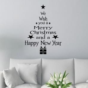 Blessing Christmas Tree Living Room Window Glass Door Removable Christmas Wall Sticker Decoration(Black)