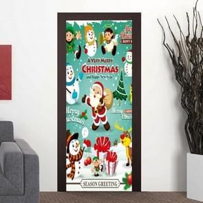 Cartoon Santa Claus Snowman Living Room Door Corridor Removable Christmas Wall Sticker Decoration