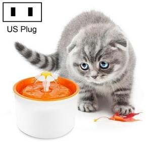 1.6L Automatic Electric Water Fountain Dog Cat Pet Drinker Bowl Drinking Fountain Dispenser, US Plug (Orange)