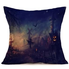 Halloween Decoration patroon Car Sofa Pillowhoesje met Decorative Head Restraints Home Sofa Pillowcase, H, Afmeting:43*43cm