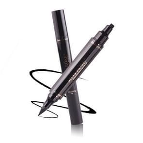 2 PCS 2 in 1 Black Waterproof Dual Head Quick Drying Eyeliner Seal Stamp Pen