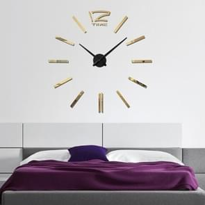 39 inch Bedroom Home Office Decoration Modern Frameless Large DIY 3D Mirror Wall Sticker Mute Clock(Gold)