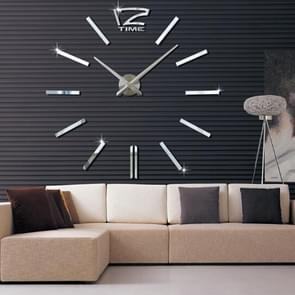 39 inch Bedroom Home Office Decoration Modern Frameless Large DIY 3D Mirror Wall Sticker Mute Clock(Silver)