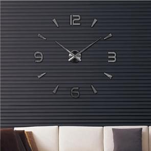 Slaapkamer Home Decoratie Watch Frameless 3D Spiegel Grote DIY Wall Sticker Mute Klok  Grootte: 100 * 100cm (Zwart)