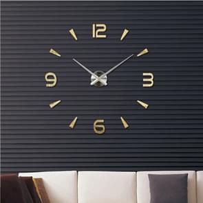 Slaapkamer Home Decoratie Watch Frameless 3D Spiegel Grote DIY Wall Sticker Mute Klok  Grootte: 100 * 100cm (Goud)