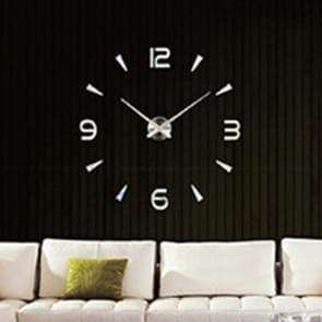 Slaapkamer Home Decoratie Watch Frameless 3D Spiegel Grote DIY Wall Sticker Mute Klok  Grootte: 100 * 100cm (Zilver)