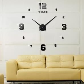 Slaapkamer Home Decoratie spiegelende nummer frameless grote 3D DIY Muur Sticker Mute Klok  Grootte: 100 * 100cm (Zwart)