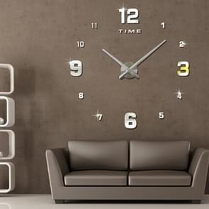 Bedroom Home Decoration Mirrored Number Frameless Large 3D DIY Wall Sticker Mute Clock, Size: 100*100cm(Silver)