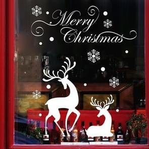 White Snow Reindeer Window Glass Door Removable Christmas Wall Sticker Decoretion