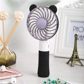 SEMA Portable Bear Shaped USB Rechargeable 3 Speeds Folding Cooling Handheld Personal Fan with LED Light(Black)