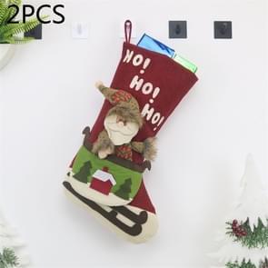2 PCS CX20228 Santa Claus Pattern Christmas Sock Gift Bag Christmas Tree Pendant Decoration