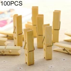100 stuks multi-functie Mini bamboe kleding foto paperclip Peg wasknijper Wasserij Hanger