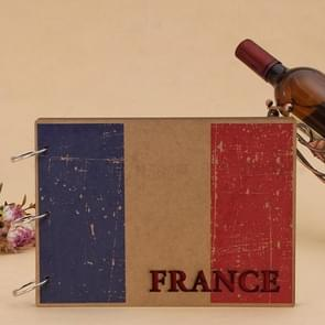 10 inch DIY Creativity Loose-leaf Woodiness Iron Ring the French Flag Pattern Commemorative Photo Album