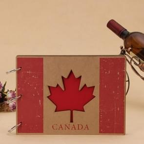 10 inch DIY Creativity Loose-leaf Woodiness Iron Ring the Canadian Flag Pattern Commemorative Photo Album