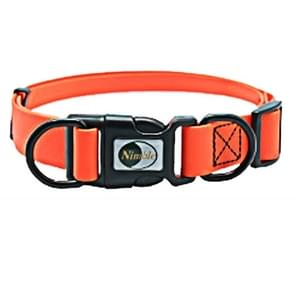 PVC Material Waterproof Adjustable Dual Loop Pet Dogs Collar, Suitable for Ferocious Dogs, Size: M, Collar Size: 30-47 cm (Orange)
