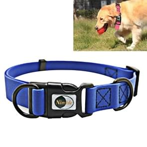 PVC Material Waterproof Adjustable Dual Loop Pet Dogs Collar, Suitable for Ferocious Dogs, Size: M, Collar Size: 30-47 cm (Blue)