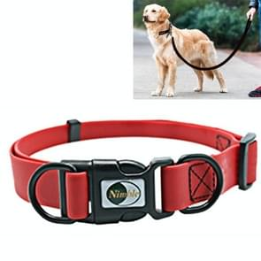 PVC Material Waterproof Adjustable Dual Loop Pet Dogs Collar, Suitable for Ferocious Dogs, Size: M, Collar Size: 30-47 cm (Red)