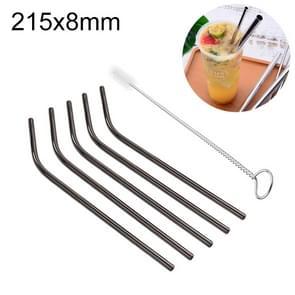 5 PCS Reusable Stainless Steel Bent Drinking Straw + Cleaner Brush Set Kit,  215*8mm(Black)