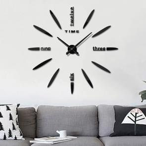 Bedroom Home Decor Large 3D Mirror DIY Wall Sticker Clock, Size: 100*100cm(Black)