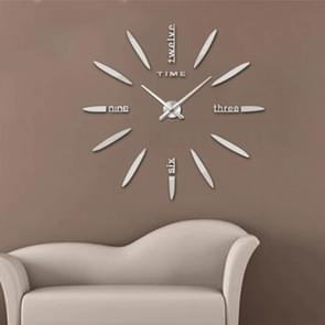 Bedroom Home Decor Large 3D Mirror DIY Wall Sticker Clock, Size: 100*100cm(Silver)