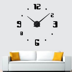 Slaapkamer Home Decor Frameless Groot Aantal 3D Spiegel DIY Wall Sticker Mute Klok  Grootte: 100 * 100cm (Zwart)