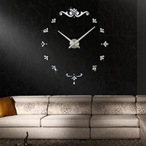 Bedroom Home Battery Operated Frameless Large 3D Mirror DIY Wall Sticker Mute Clock, Size: 100*100cm(Silver)