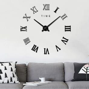 Bedroom Home Decoration Frameless Roman Numeral Large DIY Wall Sticker Mute Clock, Size: 100*100cm(Black)