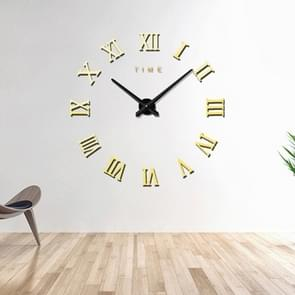 Bedroom Home Decoration Frameless Roman Numeral Large DIY Wall Sticker Mute Clock, Size: 100*100cm(Gold)