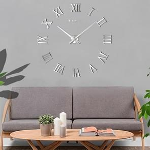 Bedroom Home Decoration Frameless Roman Numeral Large DIY Wall Sticker Mute Clock, Size: 100*100cm(Silver)