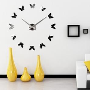 Slaapkamer Huis decoratie Frameless Butterfly Shaped Grote DIY Muur Sticker Mute Klok  Grootte: 100 * 100cm (Zwart)