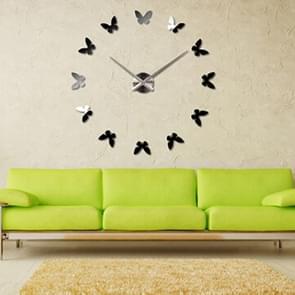 Slaapkamer Huis decoratie Frameless Butterfly Shaped Grote DIY Muur Sticker Mute Klok  Grootte: 100 * 100cm (Zilver)
