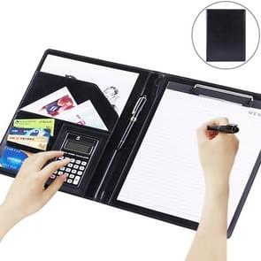 Office Supplies Business Style Leather Document Folder with 30-pages A4 Note Pad & Calculator (Black)