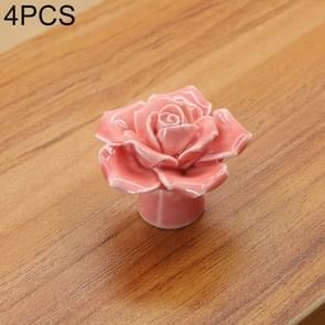 4 PCS 41mm Rose Shape Modern Literary Color Glazed Ceramic Cabinet Drawer Handle(Pink)