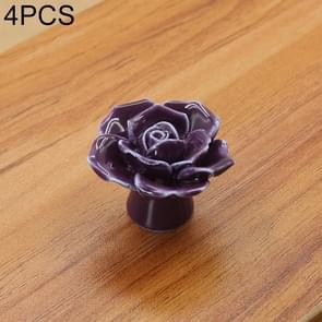 4 PCS 41mm Rose Shape Modern Literary Color Glazed Ceramic Cabinet Drawer Handle(Purple)