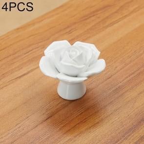 4 PCS 41mm Rose Shape Modern Literary Color Glazed Ceramic Cabinet Drawer Handle(White)