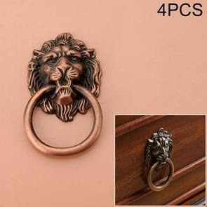 4 PCS Classical Single Hole Lion Head Wardrobe Medicine Cabinet Handle