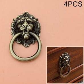 4 PCS Classical Single Hole Lion Head Wardrobe Medicine Cabinet Handle(Bronze)
