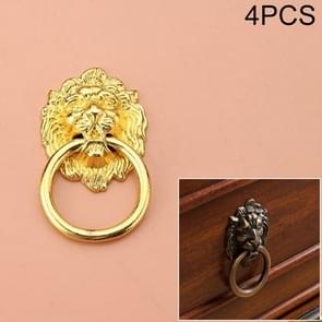 4 PCS Classical Single Hole Lion Head Wardrobe Medicine Cabinet Handle(Gold)