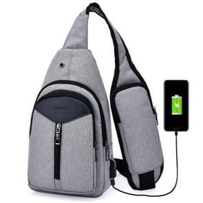Draagbare rugzak Casual Outdoor Unisex schoudertassen driehoek Design Crossbody zakken Outdoor sporten rijden schoudertas met externe USB-opladen Interface en hoofdtelefoon Plug(Grey)