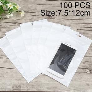 100 PCS 7.5cm x 12cm Hang Hole Clear Front White Pearl Jewelry Zip Lock Packaging Bag, Custom Printing and Size are welcome
