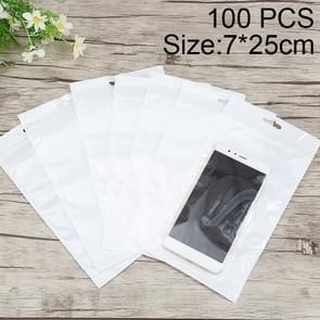 100 PCS 7cm x 25cm Hang Hole Clear Front White Pearl Jewelry Zip Lock Packaging Bag, Custom Printing and Size are welcome